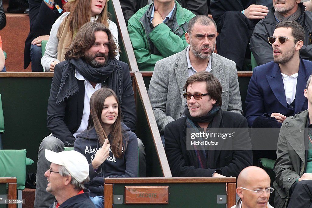 Frederic Beigbeder and Thomas Dutronc sighted at The French Open at Roland Garros on June 10 2012 in Paris France