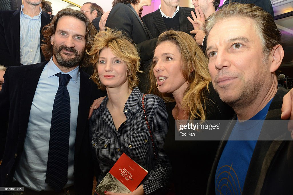 Frederic Beigbeder, Monica Sabolo, Carole Chretiennot and Philippe Vandel attend the Prix de Flore 2013' : Ceremony Cocktail At Cafe De Flore on November 7, 2013 in Paris, France.