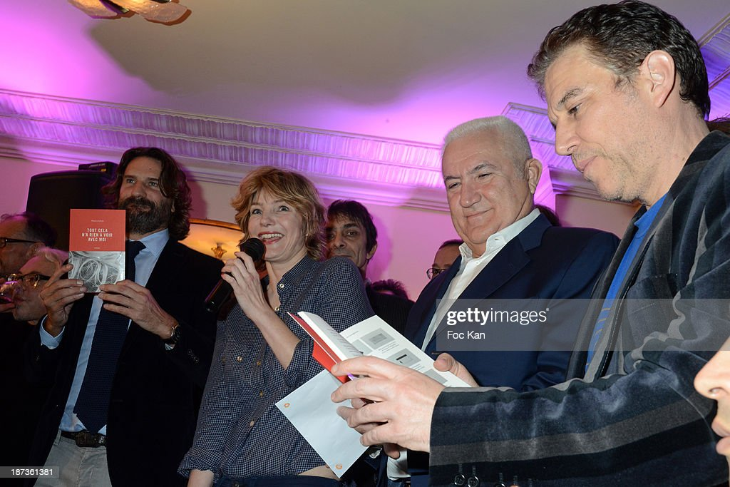<a gi-track='captionPersonalityLinkClicked' href=/galleries/search?phrase=Frederic+Beigbeder&family=editorial&specificpeople=2164723 ng-click='$event.stopPropagation()'>Frederic Beigbeder</a>, Monica Sabolo, Miroslav Siljegovic and <a gi-track='captionPersonalityLinkClicked' href=/galleries/search?phrase=Philippe+Vandel&family=editorial&specificpeople=2164722 ng-click='$event.stopPropagation()'>Philippe Vandel</a> attend the Prix de Flore 2013' : Ceremony Cocktail At Cafe De Flore on November 7, 2013 in Paris, France.