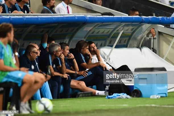 Frederic Bompard assistant Coach and Rudi Garcia Coach of Marseille during the Uefa Europa League Playoffs match second leg between Olympique de...