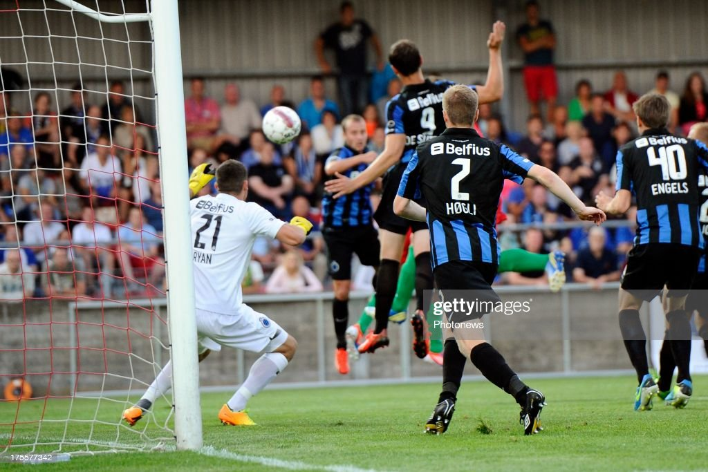 Frederic Brillant of KV Oostende scores during the Jupiler Pro League match between KV Oostende and Club Brugge KV on August 4, 2013 in Oostende, Belgium. (Photo by Peter De Voecht/Photonews
