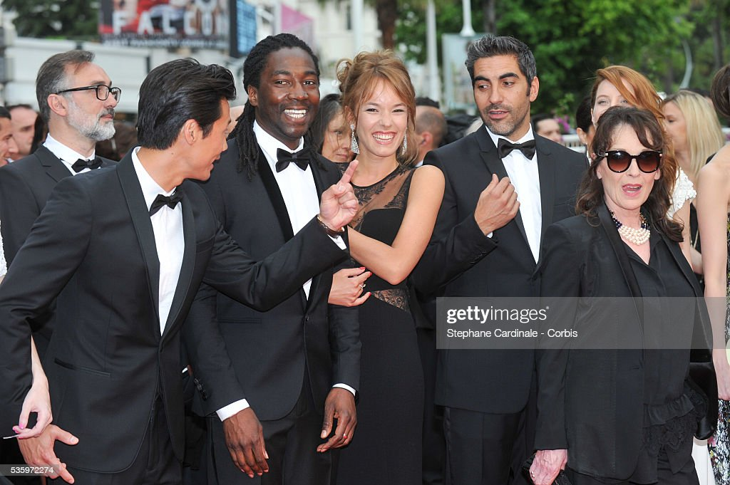 Frederic Chau, Noom Diawara, Julia Piaton, Ary Abittan, Chantal Lauby (Cast of 'Qu'est ce qu'on a fait au bon Dieu?') attend the 'Jimmy's Hall' premiere during the 67th Cannes Film Festival