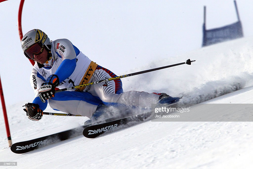 Frederic Covili of France in action during the Mens FIS Alpine World Cup Slalom on November 23, 2003 at Park City ski resort in Park City, Utah.