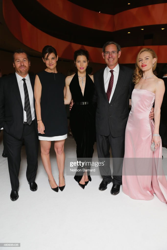 Frederic Cumenal, President of Tiffany & Co., <a gi-track='captionPersonalityLinkClicked' href=/galleries/search?phrase=Katie+Holmes&family=editorial&specificpeople=201598 ng-click='$event.stopPropagation()'>Katie Holmes</a>, <a gi-track='captionPersonalityLinkClicked' href=/galleries/search?phrase=Jessica+Biel&family=editorial&specificpeople=203011 ng-click='$event.stopPropagation()'>Jessica Biel</a>, Michael Kowalski, Chairman of Tiffany & Co. and <a gi-track='captionPersonalityLinkClicked' href=/galleries/search?phrase=Kate+Bosworth&family=editorial&specificpeople=201616 ng-click='$event.stopPropagation()'>Kate Bosworth</a> attend the Tiffany Debut of the 2014 Blue Book on April 10, 2014 at the Guggenheim Museum in New York, United States.