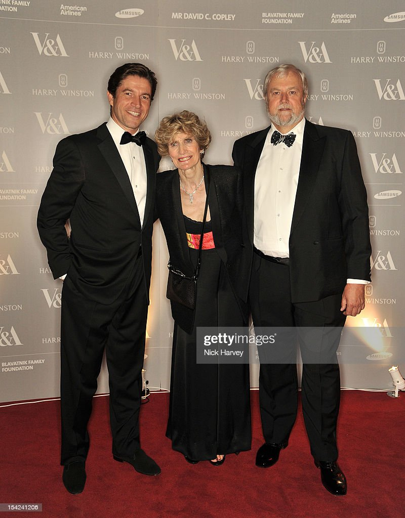 Frederic De Narp, Geraldine Gannicott and Bob Gannicott attend the Hollywood Costume gala dinner at the Victoria & Albert Museum on October 16, 2012 in London, England.