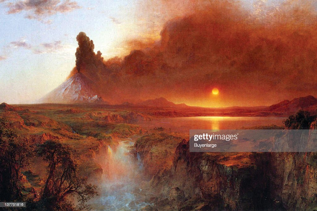 Frederic Edwin Church's Cotopaxi is a stratovolcano in the Andes Mountains, located about 28 km south of Quito, Ecuador, South America It is the second highest summit in the country, reaching a height of 5,897 meters, 1860.