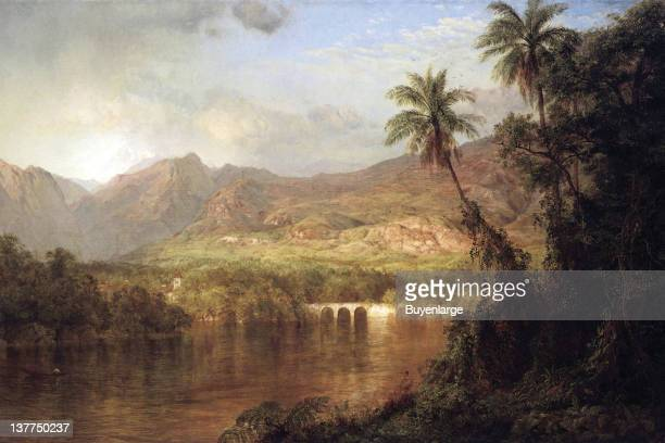Frederic Edwin Church's Tropical scene with arched bridge and monastery in background nestled into the jungle 1860