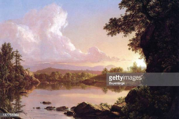 Frederic Edwin Church's Water scene in New York's Catskill Mountains 1860