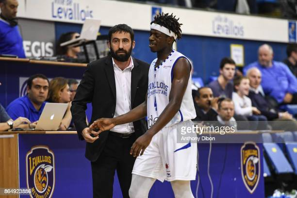 Frederic Fauthoux coach of Levallois and Sylvain Francisco during the Pro A match between Levallois Metropolitans and Boulazac at Salle Marcel Cerdan...