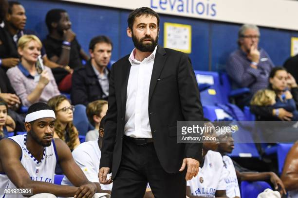 Frederic Fauthoux coach of Levallois during the Pro A match between Levallois Metropolitans and Boulazac at Salle Marcel Cerdan on October 21 2017 in...