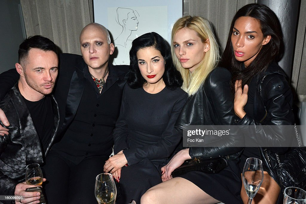 Frederic Fontan, Ali Mahdavi, Dita Von Teese, Andreas Pejic and Ines Rau attend the 'Body Double' Ali Mahdavi Exhibition Preview Cocktail At Hotel W on January 25, 2013 in Paris, France.