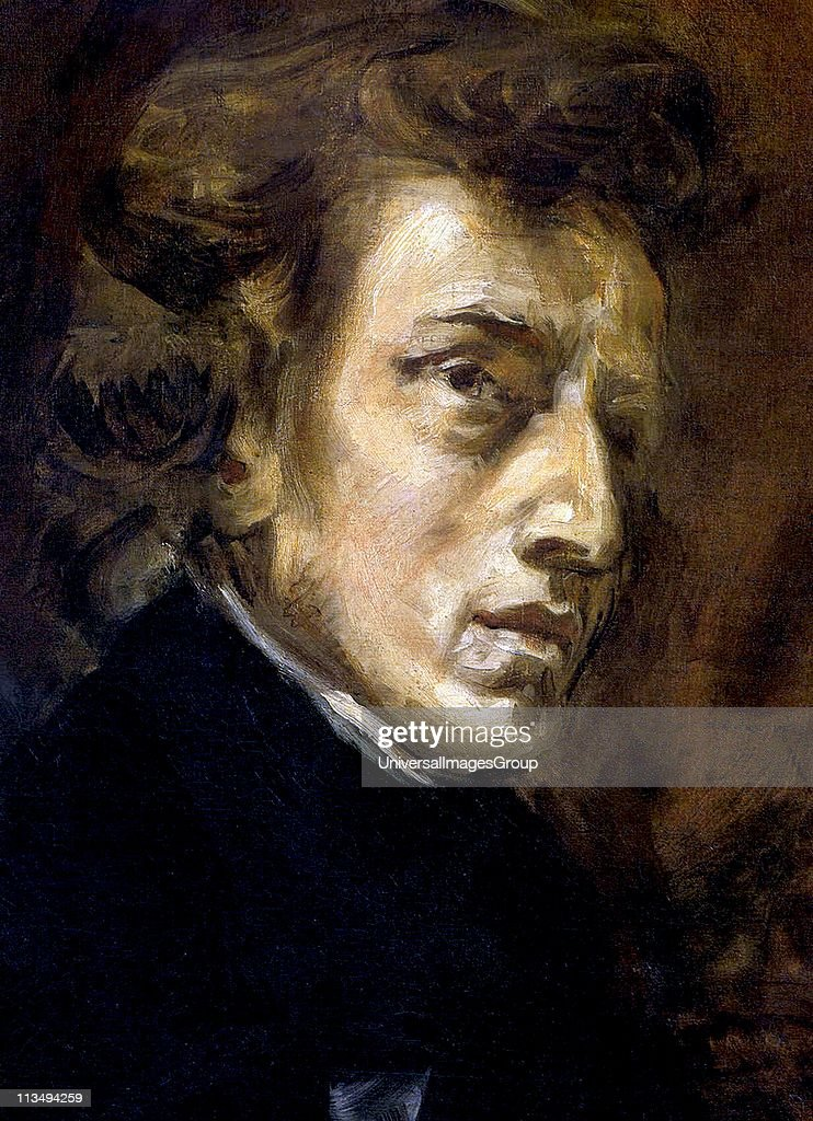 Frederic Francois Chopin, 1810 - 1849), Polish composer and pianist. portrait by Eugene Delacroix