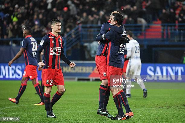 Frederic Guilbert Eddine Yahia and Julien Feret of Caen celebrates the victory during the Ligue 1 match between SM Caen and Olympique Lyonnais Lyon...