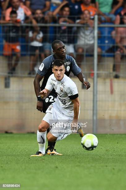 Frederic Guilbert of Caen and Jerome Roussillon of Montpellier during the Ligue 1 match between Montpellier Herault SC and SM Caen at Stade de la...