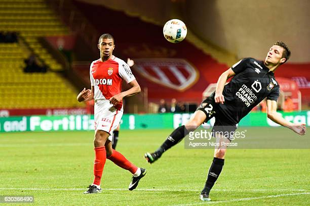 Frederic Guilbert of Caen and Kylian Mbappe of Monaco during the Ligue 1 match between AS Monaco and SM Caen at Louis II Stadium on December 21 2016...