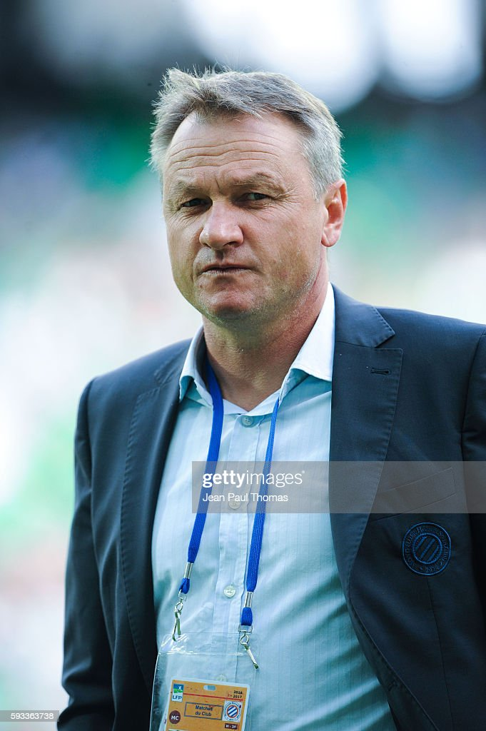 Frederic HANTZ coach of Montpellier during the Ligue 1 match between As Saint Etienne and Montpellier Herault at Stade GeoffroyGuichard on August 21...