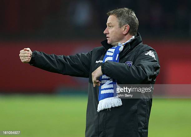 Frederic Hantz coach of SC Bastia gives his instructions during the French Ligue 1 match between Paris Saint Germain FC and Sporting Club de Bastia...