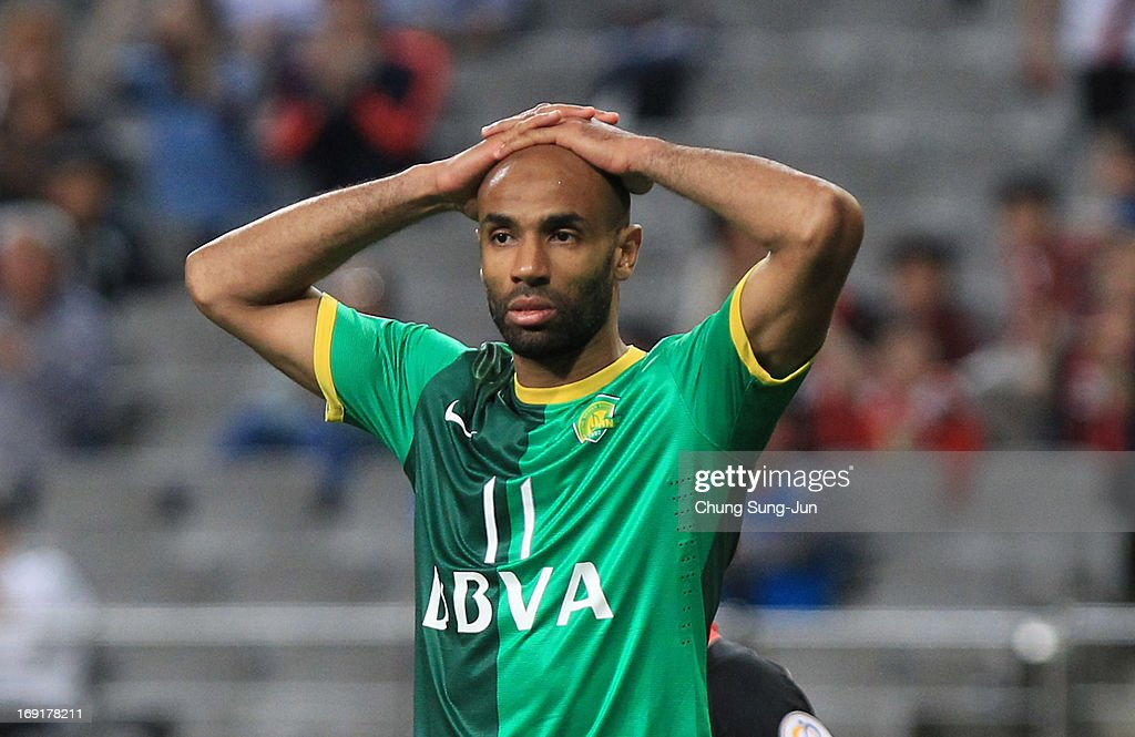 <a gi-track='captionPersonalityLinkClicked' href=/galleries/search?phrase=Frederic+Kanoute&family=editorial&specificpeople=213590 ng-click='$event.stopPropagation()'>Frederic Kanoute</a> of Beijing Go'an reacts during the AFC Champions League round of 16 match between FC Seoul and Beijing Go'an at Seoul World Cup Stadium on May 21, 2013 in Seoul, South Korea.