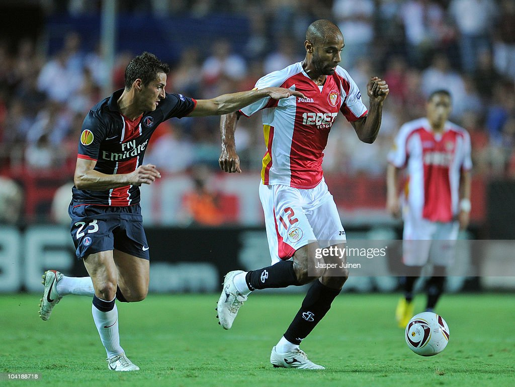 Frederic Kanoute (R) of Sevilla duels for the ball with Jeremy Clement of Paris Saint Germain during the UEFA Europa League group J match between Sevilla and Paris Saint Germain at the Estadio Ramon Sanchez Pizjuan on September 16, 2010 in Seville, Spain. Paris Saint Germain won the match 1-0.