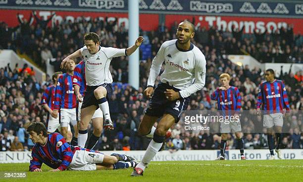 Frederic Kanoute of Tottenham Hotspur celebrates after scoreing during the FA Cup Third round match between Tottenham Hotspur and Crystal Palace at...