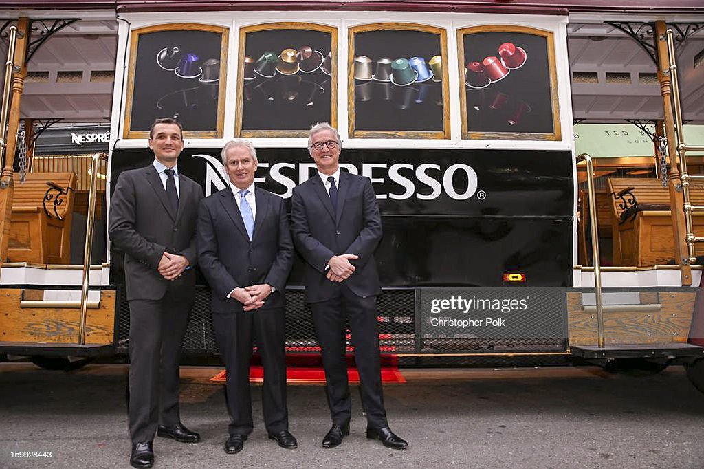 Frederic Levy, President, Nespresso USA; Patrice Bula, Chairman of Nespresso, Christophe Cornu, Chief Commercial Officer, Nespresso, S.A. at the San Francisco Nespresso Boutique Grand Opening on January 22, 2013 in San Francisco, California.