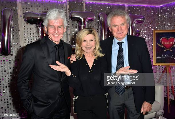 Frederic Meisner Marianne Hartl and Sepp Maier during the Jose Carreras charity dinner at Schuhbecks Teatro on February 13 2017 in Munich Germany