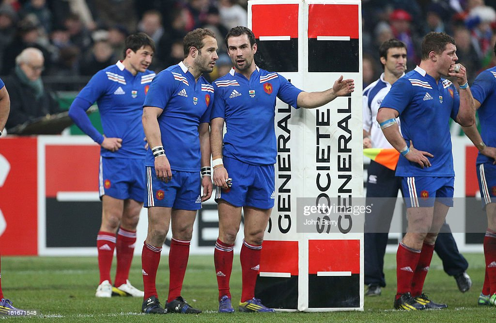 Frederic Michalak and Morgan Parra of France chat during the 6 Nations match between France and Wales at the Stade de France on February 9, 2013 in Paris, France.