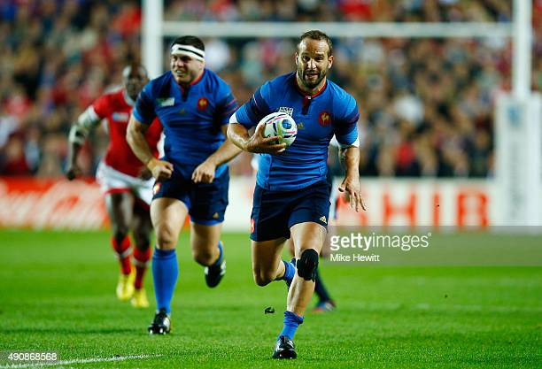 Frederic Michalak of France breaks through during the 2015 Rugby World Cup Pool D match between France and Canada at Stadium mk on October 1 2015 in...