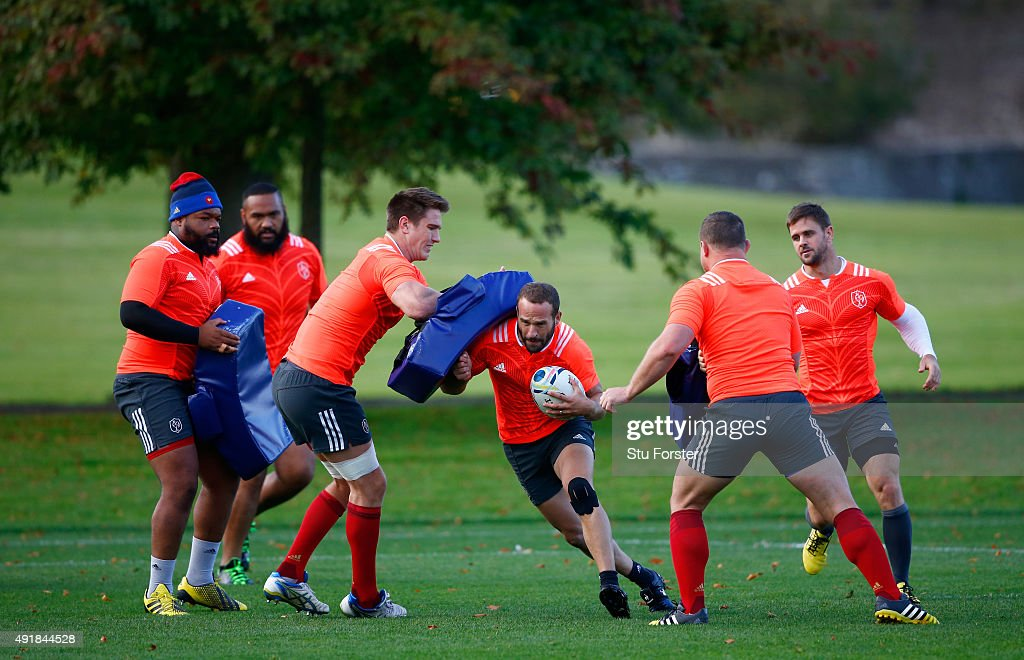 <a gi-track='captionPersonalityLinkClicked' href=/galleries/search?phrase=Frederic+Michalak&family=editorial&specificpeople=209294 ng-click='$event.stopPropagation()'>Frederic Michalak</a> of France in action during France training at the Hensol Castle grounds on October 8, 2015 in Cardiff, Wales.