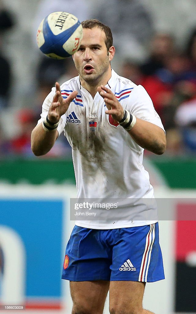 <a gi-track='captionPersonalityLinkClicked' href=/galleries/search?phrase=Frederic+Michalak&family=editorial&specificpeople=209294 ng-click='$event.stopPropagation()'>Frederic Michalak</a> of France in action during the Rugby Autumn International between France and Samoa at the Stade de France on November 24, 2012 in Paris, France.