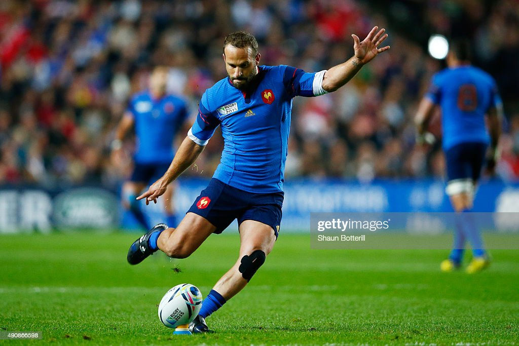 Frederic Michalak of France kicks a conversion during the 2015 Rugby World Cup Pool D match between France and Canada at Stadium mk on October 1, 2015 in Milton Keynes, United Kingdom.