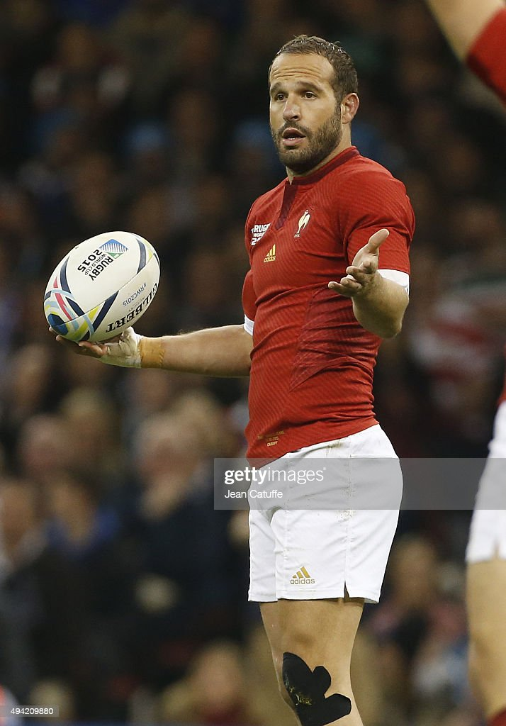 Frederic Michalak of France reacts during the 2015 Rugby World Cup Quarter Final match between New Zealand and France at the Millennium Stadium on October 17, 2015 in Cardiff, United Kingdom.