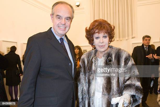 Frederic Mitterand and Silvana Pampanini attend Rome Fashion Week Opening Dinner Gala and opening of Richard Avedons exhibition at Villa Medici on...