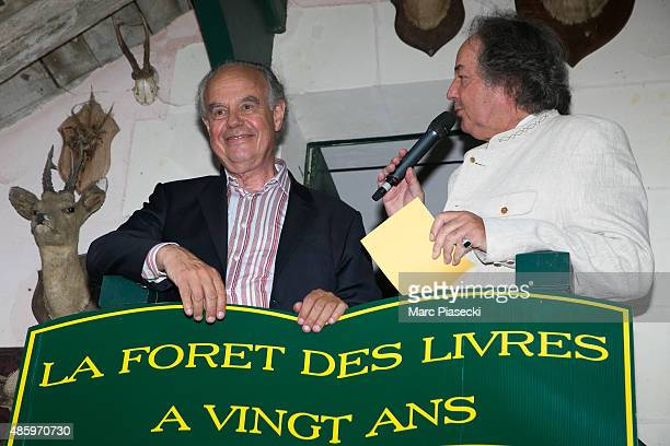 Frederic Mitterrand and Gonzague Saint Bris attend the 2Oth 'La Foret des Livres' book fair on August 30 2015 in ChanceauxpresLoches France