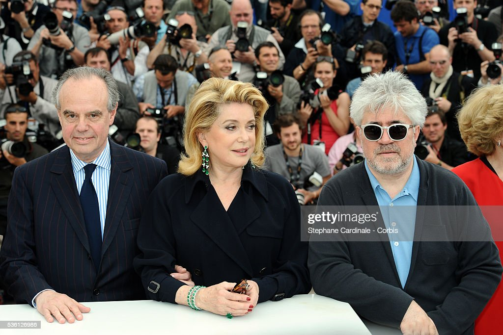 Frederic Mitterrand Catherine Deneuve and Pedro Almodovar at the Photocall for 'Homage To The Spanish Cinema' during the 63rd Cannes International...