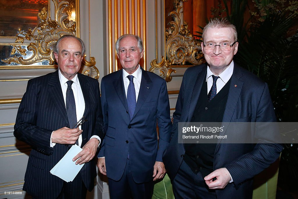 <a gi-track='captionPersonalityLinkClicked' href=/galleries/search?phrase=Frederic+Mitterrand&family=editorial&specificpeople=621709 ng-click='$event.stopPropagation()'>Frederic Mitterrand</a>, President of the 'Societe des Amis du Musees D'Orsay et de l'Orangerie', Jean-Louis Milin and President of Orsay and Orangerie Museums, Guy Cogeval attend the 'Societe des Amis du Musee D'Orsay' : Dinner and Private tour of the Exhibition 'Le Douanier Rousseau - L'innocence archaique'. Held at Musee d'Orsay on April 4, 2016 in Paris, France.