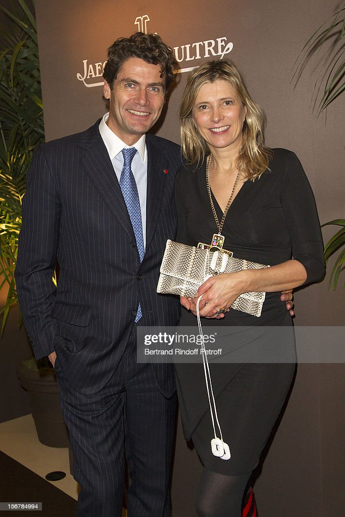 Frederic Neefs and Isabelle de Sejournet (d'Hauteville) pose at Grand Hotel during a cocktail event following Jaeger-LeCoultre Vendome Boutique Opening at Jaeger-LeCoultre Boutique on November 20, 2012 in Paris, France.