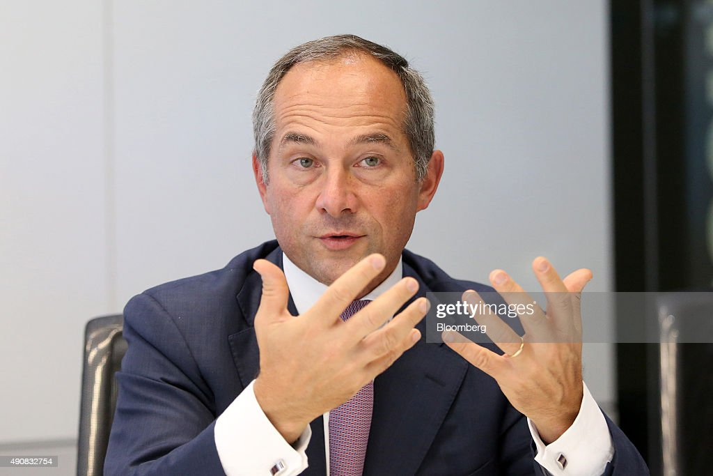 Frederic Oudea chief executive officer of Societe Generale SA gestures as he speaks during an interview in London UK on Thursday Oct 1 2015 Oudea...