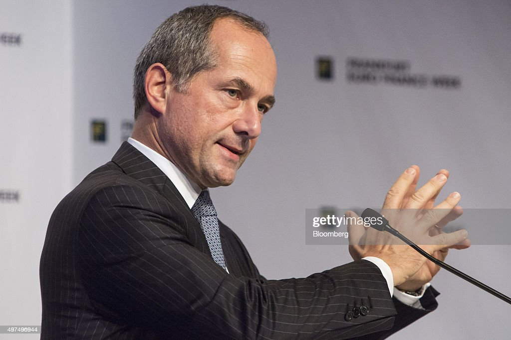 Frederic Oudea chief executive officer of Societe Generale SA gestures as he speaks during Euro Finance Week in Frankfurt Germany on Tuesday Nov 17...