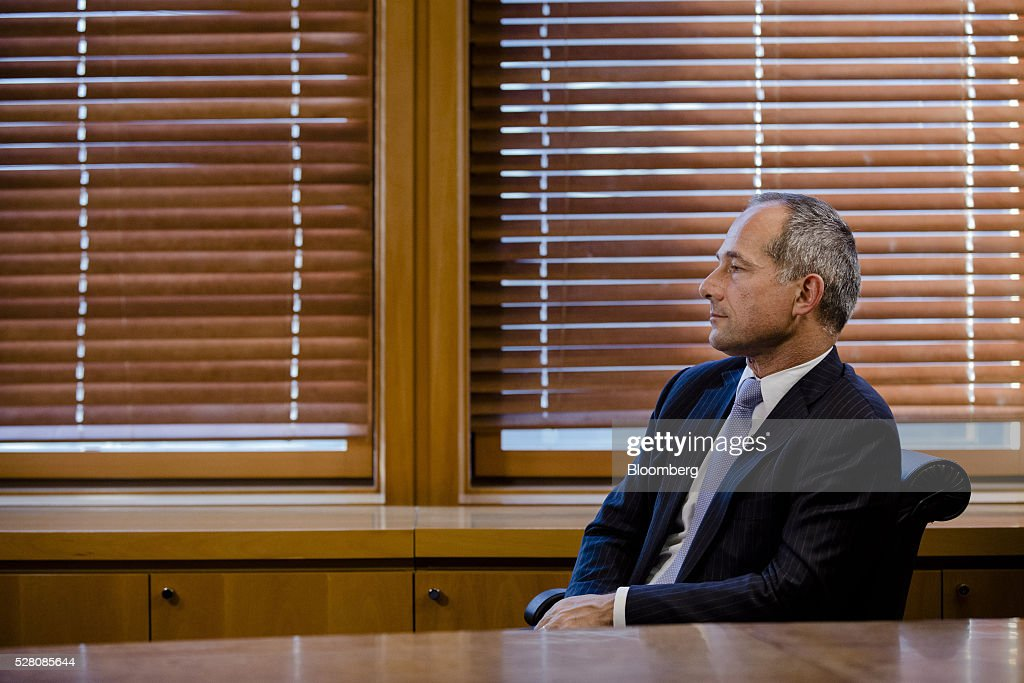 Frederic Oudea chief executive officer of Societe Generale SA looks on during an interview at the bank's headquarters in Paris France on Tuesday May...