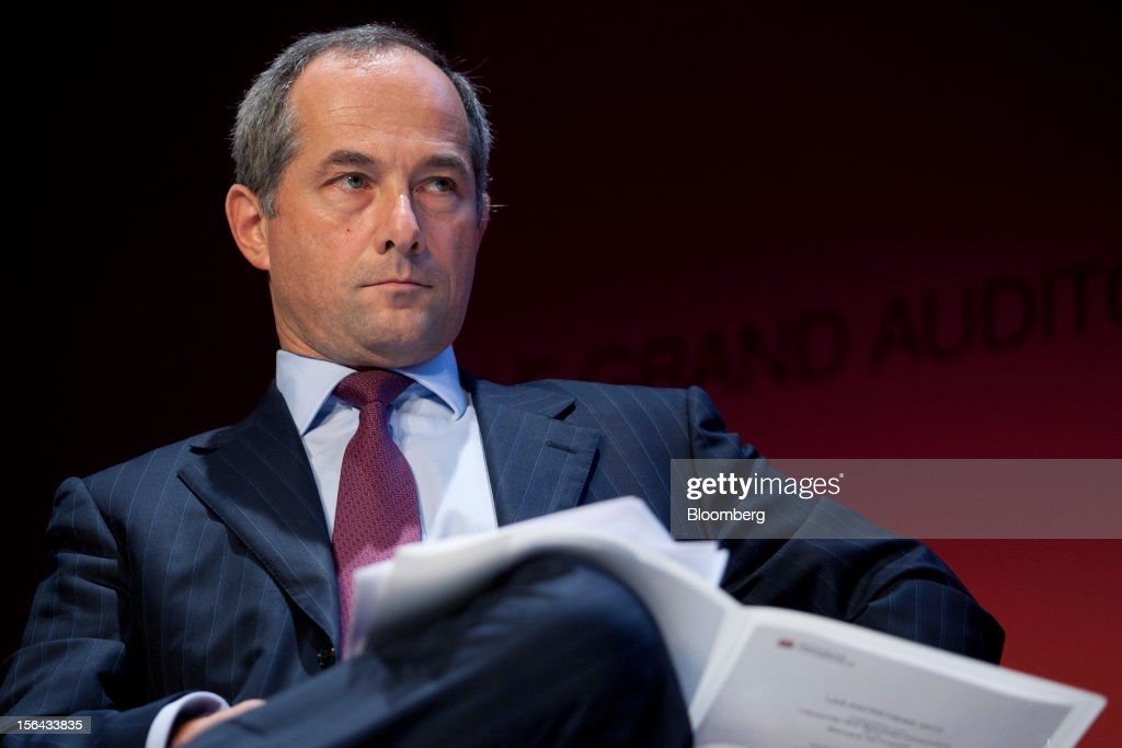 Frederic Oudea chief executive officer of Societe Generale SA pauses during the Autorite des Marches Financiers annual conference 2012 at the Palais...
