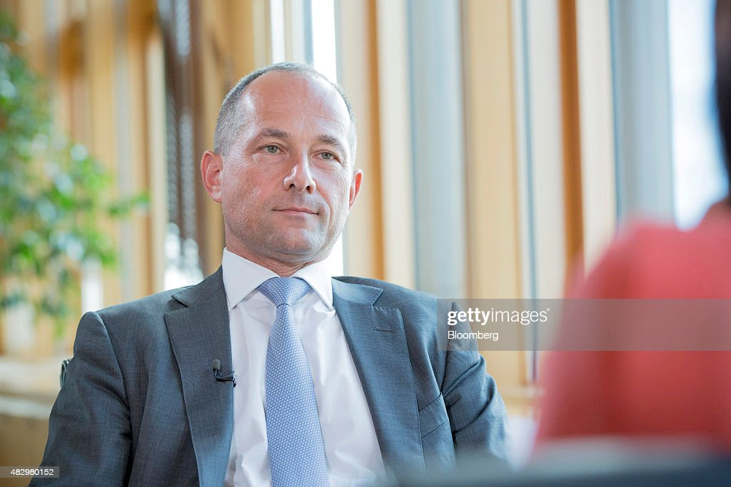 Frederic Oudea chief executive officer of Societe Generale SA pauses during a Bloomberg Television interview at Societe Generale's headquarters in...