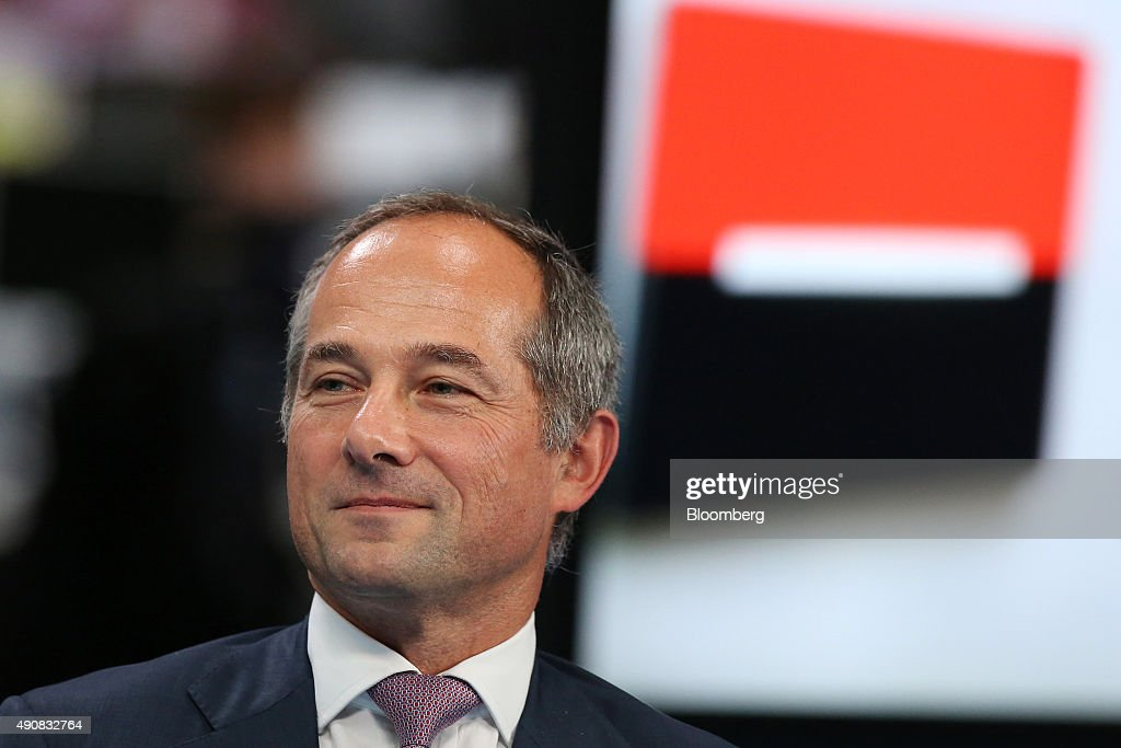 Frederic Oudea chief executive officer of Societe Generale SA pauses during a Bloomberg Television interview in London UK on Thursday Oct 1 2015...