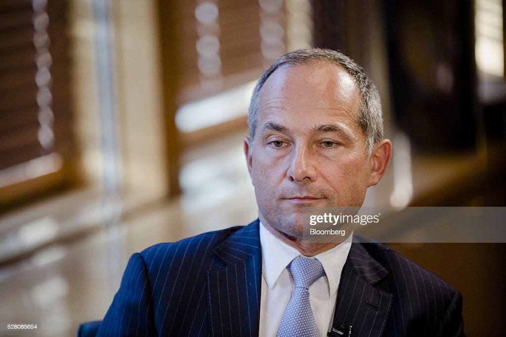 Frederic Oudea chief executive officer of Societe Generale SA pauses during an interview at the bank's headquarters in Paris France on Tuesday May 3...