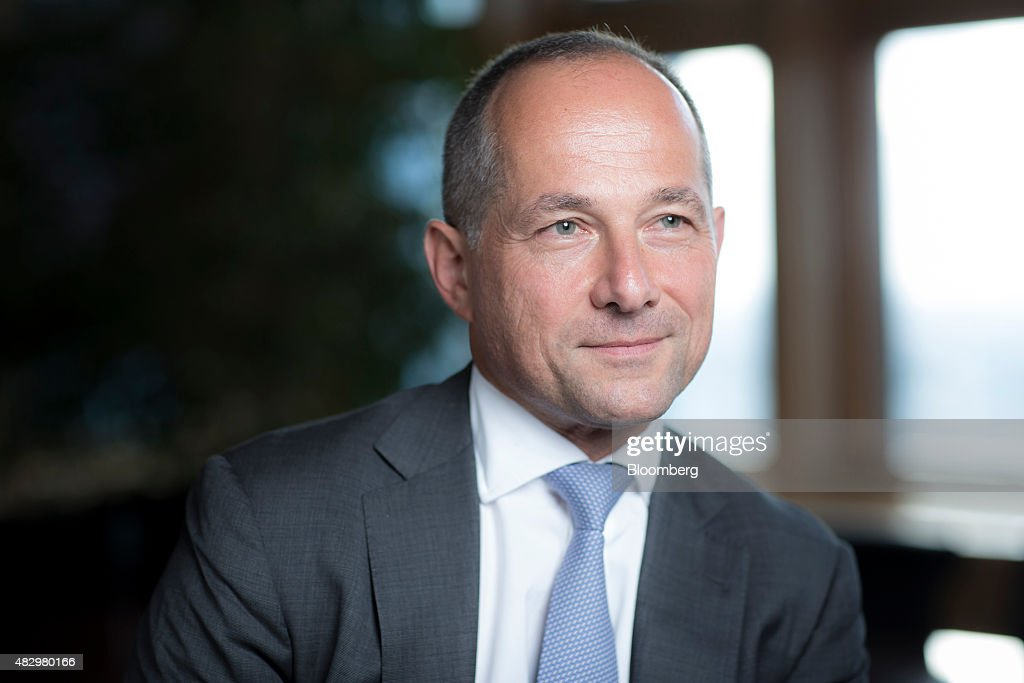 Frederic Oudea chief executive officer of Societe Generale SA poses for a photograph following a Bloomberg Television interview at Societe Generale's...