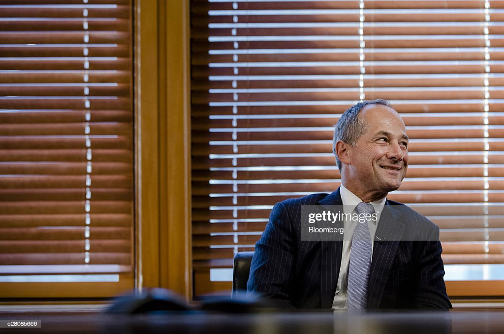 Frederic Oudea chief executive officer of Societe Generale SA reacts during an interview at the bank's headquarters in Paris France on Tuesday May 3...
