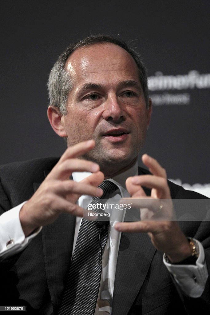 Frederic Oudea chief executive officer of Societe Generale SA speaks at the Bloomberg Markets 50 Summit in New York US on Thursday Sept 13 2012 The...
