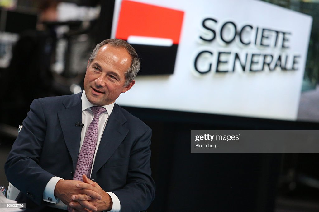 Frederic Oudea chief executive officer of Societe Generale SA speaks during a Bloomberg Television interview in London UK on Thursday Oct 1 2015...