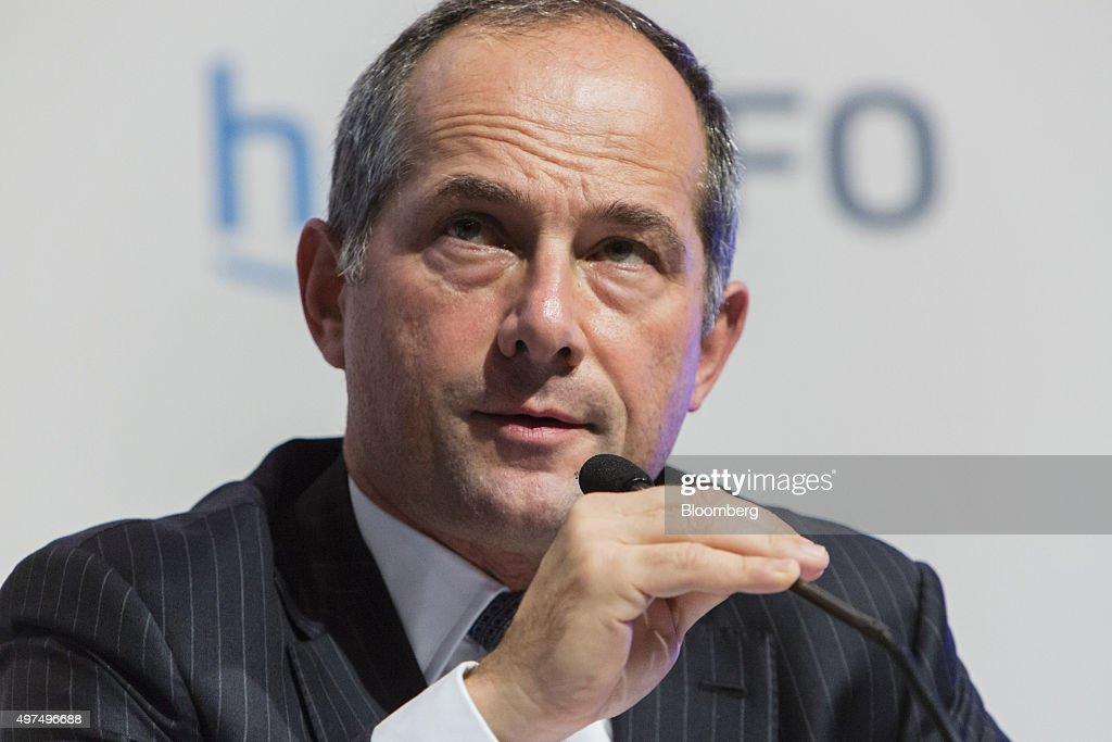 Frederic Oudea chief executive officer of Societe Generale SA speaks during Euro Finance Week in Frankfurt Germany on Tuesday Nov 17 2015European...