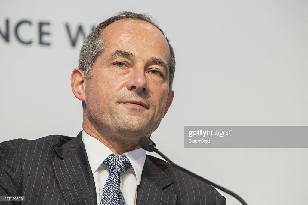 Frederic Oudea chief executive officer of Societe Generale SA speaks during Euro Finance Week in Frankfurt Germany on Tuesday Nov 17 2015 European...